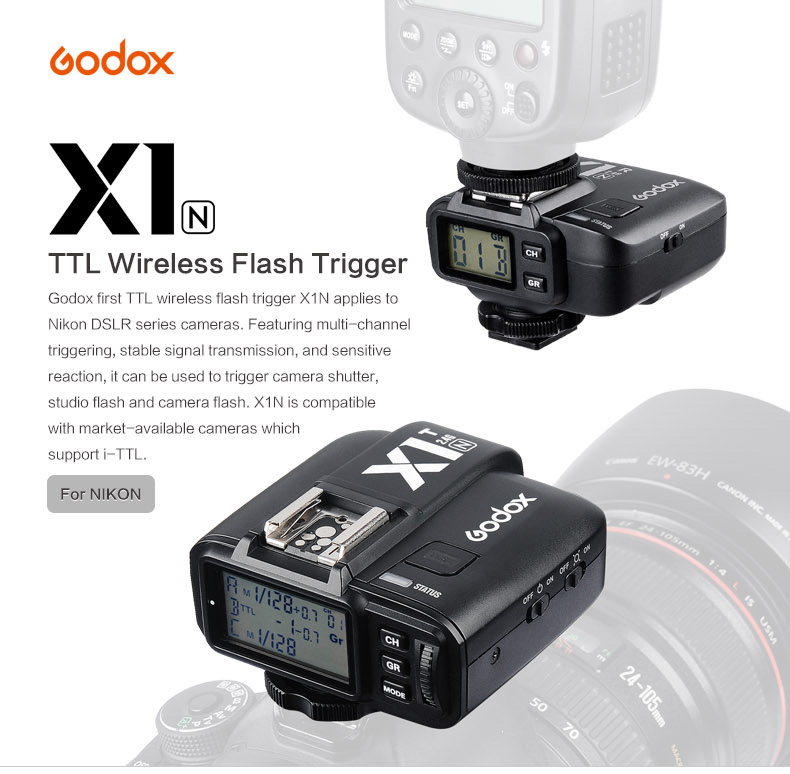 Trigger Godox TTL Wireless Flash X1N for Nikon/Canon